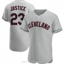 Mens David Justice Cleveland Indians #23 Authentic Gray Road A592 Jersey