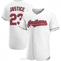 Mens David Justice Cleveland Indians #23 Authentic White Home A592 Jersey