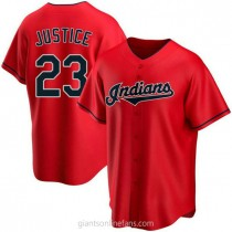 Mens David Justice Cleveland Indians #23 Replica Red Alternate A592 Jerseys