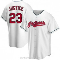 Mens David Justice Cleveland Indians #23 Replica White Home A592 Jersey