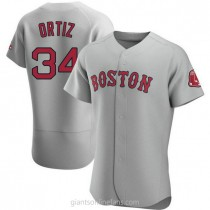 Mens David Ortiz Boston Red Sox #34 Authentic Gray Road A592 Jersey