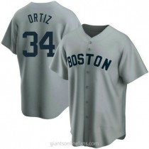 Mens David Ortiz Boston Red Sox #34 Replica Gray Road Cooperstown Collection A592 Jersey