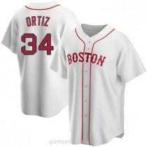 Mens David Ortiz Boston Red Sox #34 Replica White Alternate A592 Jersey
