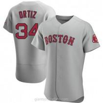 Mens David Ortiz Boston Red Sox Authentic Gray Road A592 Jersey