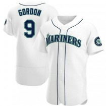 Mens Dee Gordon Seattle Mariners #9 Authentic White Home A592 Jerseys