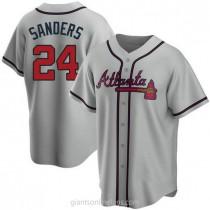 Mens Deion Sanders Atlanta Braves #24 Replica Gray Road A592 Jerseys