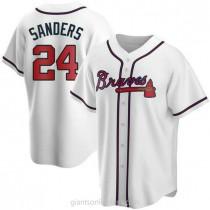 Mens Deion Sanders Atlanta Braves #24 Replica White Home A592 Jersey