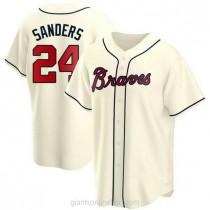 Mens Deion Sanders Atlanta Braves Replica Cream Alternate A592 Jersey