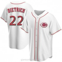 Mens Derek Dietrich Cincinnati Reds #22 Replica White Home A592 Jersey
