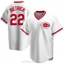 Mens Derek Dietrich Cincinnati Reds Replica White Home Cooperstown Collection A592 Jersey