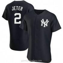 Mens Derek Jeter New York Yankees #2 Authentic Navy Alternate A592 Jerseys