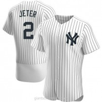 Mens Derek Jeter New York Yankees #2 Authentic White Home A592 Jersey