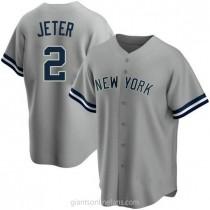 Mens Derek Jeter New York Yankees #2 Replica Gray Road Name A592 Jersey