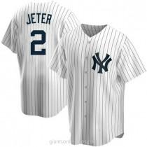Mens Derek Jeter New York Yankees #2 Replica White Home A592 Jersey