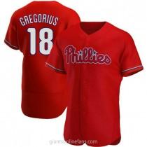 Mens Didi Gregorius Philadelphia Phillies #18 Authentic Red Alternate A592 Jersey