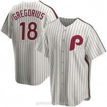 Mens Didi Gregorius Philadelphia Phillies #18 Replica White Home Cooperstown Collection A592 Jersey