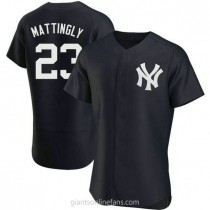 Mens Don Mattingly New York Yankees #23 Authentic Navy Alternate A592 Jersey
