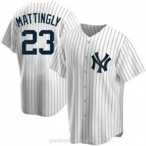 Mens Don Mattingly New York Yankees #23 Replica White Home A592 Jersey