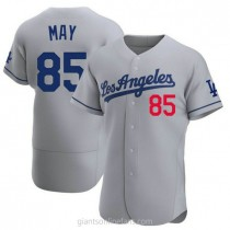 Mens Dustin May Los Angeles Dodgers #85 Authentic Gray Away Official A592 Jerseys