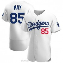 Mens Dustin May Los Angeles Dodgers #85 Authentic White Home Official A592 Jersey