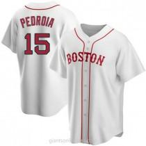 Mens Dustin Pedroia Boston Red Sox #15 Replica White Alternate A592 Jersey