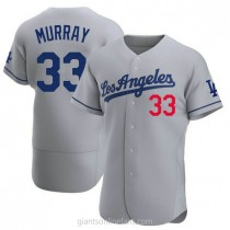 Mens Eddie Murray Los Angeles Dodgers #33 Authentic Gray Away Official A592 Jersey
