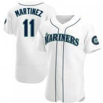 Mens Edgar Martinez Seattle Mariners #11 Authentic White Home A592 Jerseys