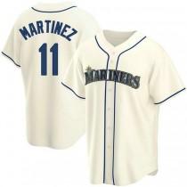 Mens Edgar Martinez Seattle Mariners #11 Replica Cream Alternate A592 Jerseys