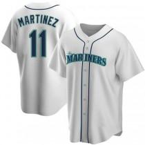 Mens Edgar Martinez Seattle Mariners #11 Replica White Home A592 Jerseys