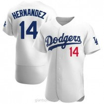 Mens Enrique Hernandez Los Angeles Dodgers #14 Authentic White Home Official A592 Jersey