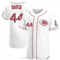 Mens Eric Davis Cincinnati Reds #44 Authentic White Home A592 Jersey