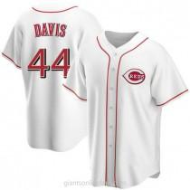 Mens Eric Davis Cincinnati Reds #44 Replica White Home A592 Jerseys