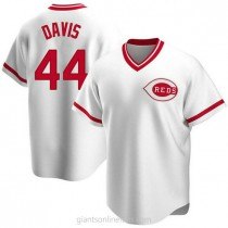Mens Eric Davis Cincinnati Reds Replica White Home Cooperstown Collection A592 Jersey