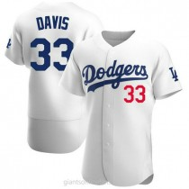Mens Eric Davis Los Angeles Dodgers #33 Authentic White Home Official A592 Jersey