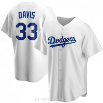 Mens Eric Davis Los Angeles Dodgers #33 Replica White Home A592 Jersey