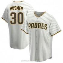 Mens Eric Hosmer San Diego Padres #30 Replica White Brown Home A592 Jersey