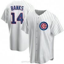 Mens Ernie Banks Chicago Cubs #14 Replica White Home A592 Jerseys