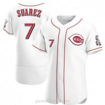 Mens Eugenio Suarez Cincinnati Reds #7 Authentic White Home A592 Jerseys