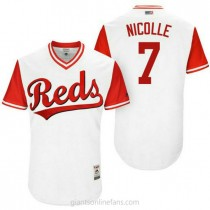 Mens Eugenio Suarez Cincinnati Reds #7 Authentic White Nicolle 2017 Players Weekend A592 Jersey