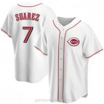 Mens Eugenio Suarez Cincinnati Reds #7 Replica White Home A592 Jersey