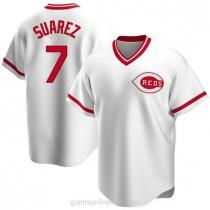 Mens Eugenio Suarez Cincinnati Reds #7 Replica White Home Cooperstown Collection A592 Jerseys
