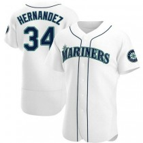 Mens Felix Hernandez Seattle Mariners #34 Authentic White Home A592 Jersey