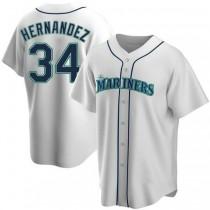 Mens Felix Hernandez Seattle Mariners #34 Replica White Home A592 Jerseys