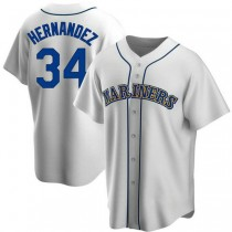 Mens Felix Hernandez Seattle Mariners #34 Replica White Home Cooperstown Collection A592 Jerseys