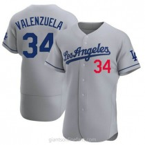 Mens Fernando Valenzuela Los Angeles Dodgers #34 Authentic Gray Away Official A592 Jersey