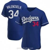 Mens Fernando Valenzuela Los Angeles Dodgers #34 Authentic Royal Alternate A592 Jersey
