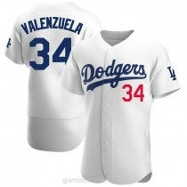 Mens Fernando Valenzuela Los Angeles Dodgers #34 Authentic White Home Official A592 Jersey