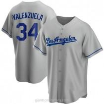Mens Fernando Valenzuela Los Angeles Dodgers #34 Replica Gray Road A592 Jersey