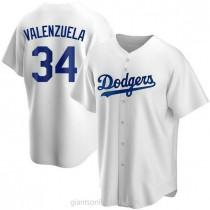 Mens Fernando Valenzuela Los Angeles Dodgers #34 Replica White Home A592 Jerseys
