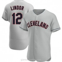 Mens Francisco Lindor Cleveland Indians #12 Authentic Gray Road A592 Jerseys
